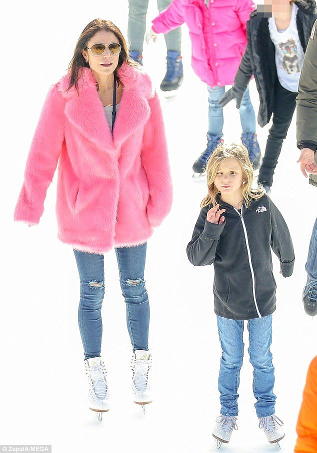 Nice ice, baby: Bethenny Frankel and her daughter Bryn showed off their skills at one of the two ice rinks in Central Park, NYC, on Wednesday