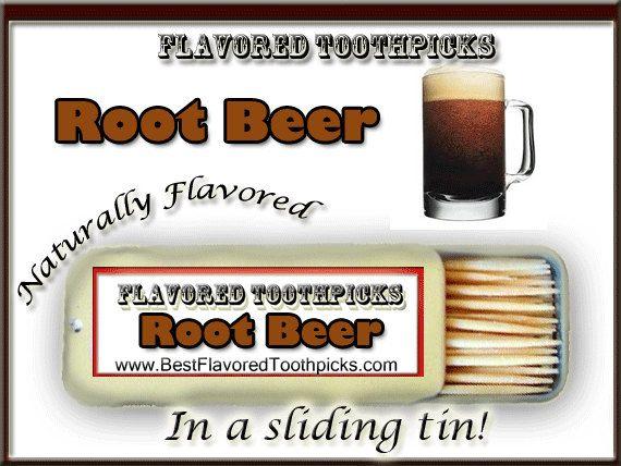 Root Beer Flavored Toothpicks - 70+ Flavors! Dad Root Beer, A&W Root Beer, Hires Root Beer, Soda, Pop, Candy, Mug, Sign, Bottle, Float, Gift