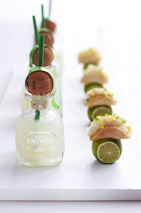 mini bottles of Patrón   bite-sized tacos.