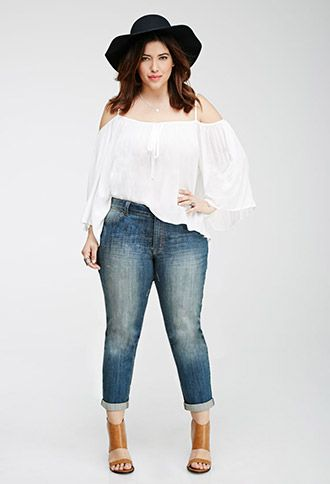 Faded Distressed Jeans | FOREVER21 PLUS - 2000118359 I really hate the hat. It's in almost every pic on Forever21 though.