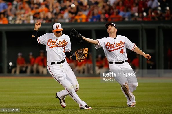 News Photo : Chris Parmelee of the Baltimore Orioles catches a...