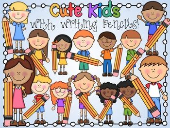 Cute Kids with Writing Pencils Clipart