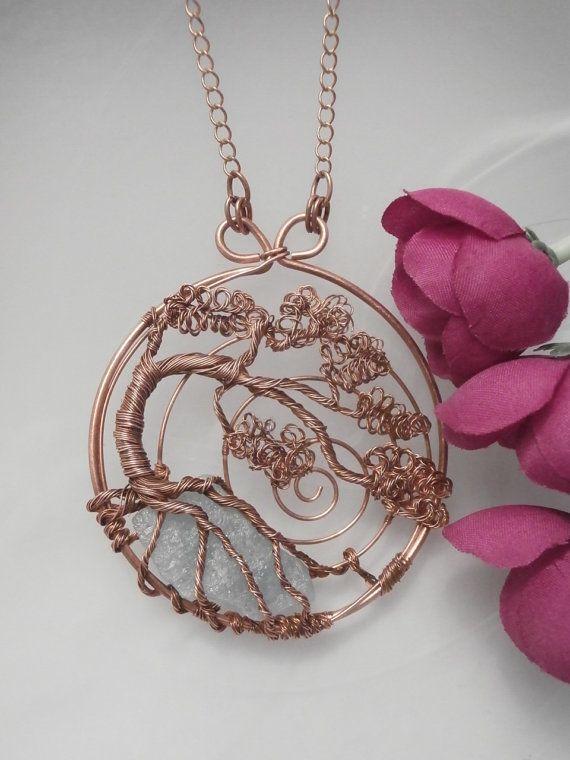 Ciondolo di filo avvolto albero della vita, rame con Aqua marina, unico filo a mano gioielli