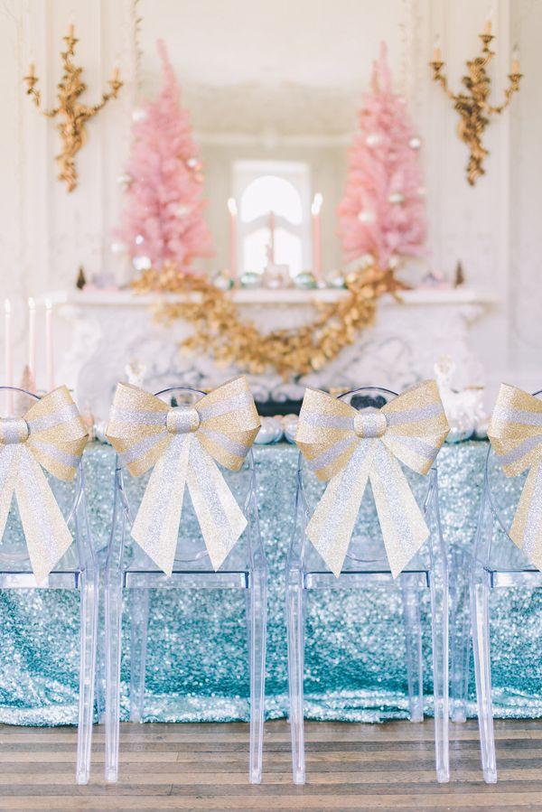 adorable glitter bow chairs | CJK Visuals #wedding