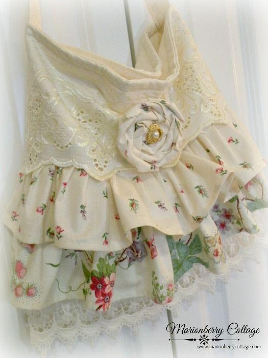 Slouchy ivory rose ruffles and lace handbag