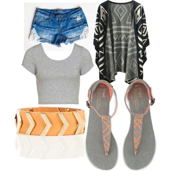 Aztec pattern cardigan  Gray crop top Gray orange sandals Orange bracelet  Denim shorts