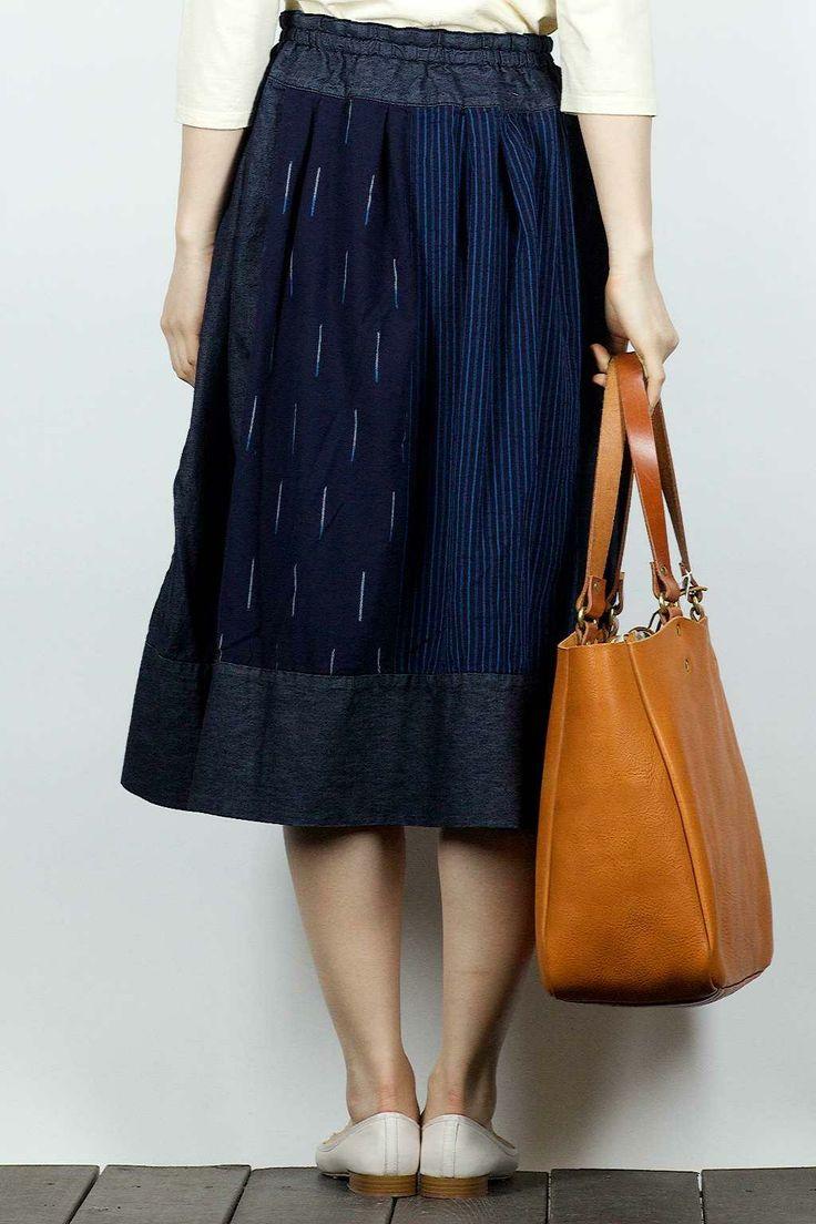 Tigre Brocante Print Ficelle Skirt - Indigo