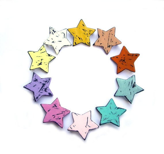 Star brooch vintage wood look polymer clay jewelry #Star #brooch $10 @JP with Love