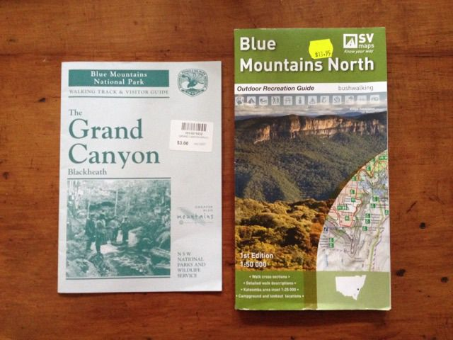 Our information sources - NSW NPSW Grand Canyon booklet and SV Map of Blue Mountains North