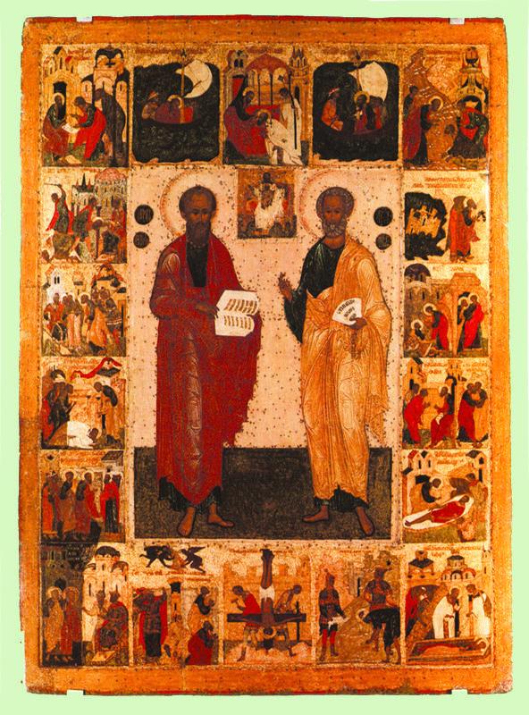 XVI в.   Петр и Павел с житием