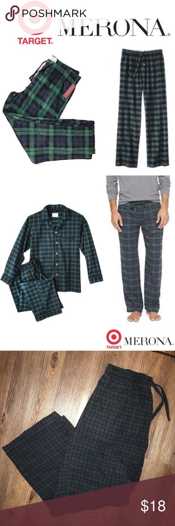 Target Merona Flannel Sleep Pants Blackwatch Plaid Pull on some comfort with Merona Men's Flannel Sleep Pants in blackwatch plaid. These men's sleep pants are made of soft warm flannel in a comfy relaxed fit. Great for lounging or sleeping, the flannel pajama pants have side pockets, a drawstring waist and a button fly for convenience. Plus, guys love the classic green and blue plaid pattern. These men's pajama pants make a perfect gift for the holidays. 100 % Cotton. EUC NO FLAWS SIZE MED…