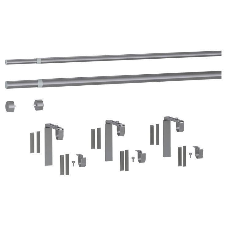 RÄCKA / HUGAD Double Curtain Rod Combination Silver