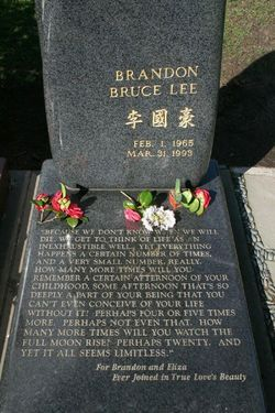 "Brandon Lee's grave - ""Because we can not know"" what beautifully true & sad words..."