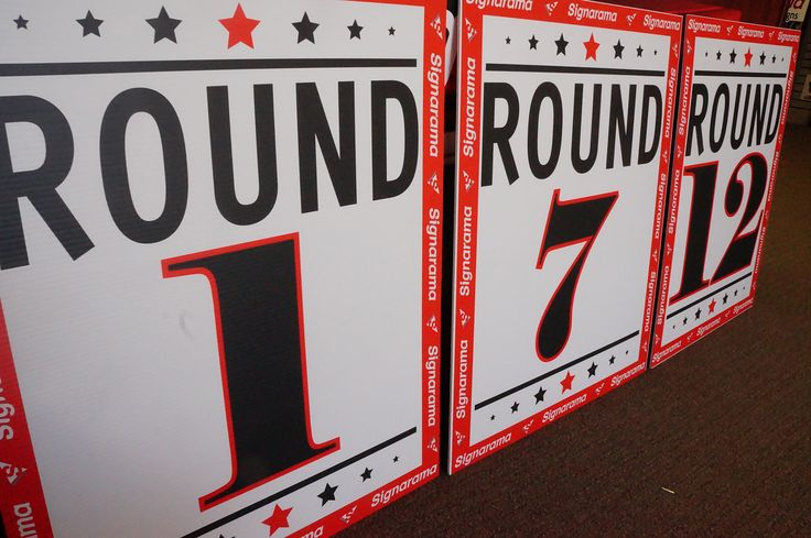 #coroplastsigns #yardsigns #bootlegsigns #banditsigns #graphicdesign  #SignaramaColorado #Signs #colorado Boxing Round Cards from coroplast for New Generation Fight Promotions