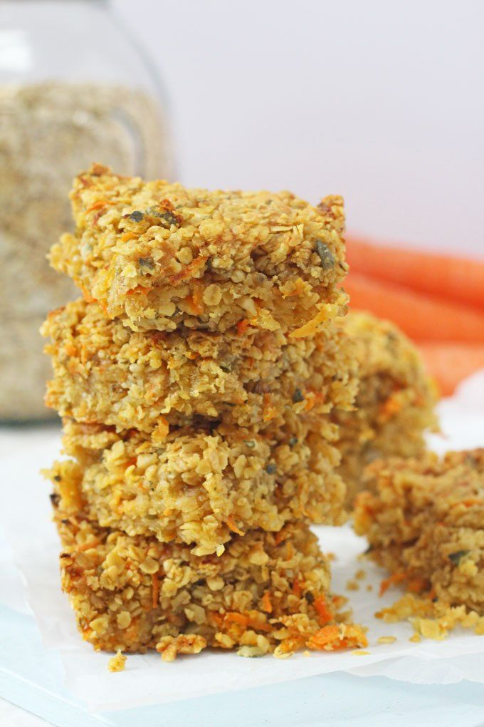 Delicious savoury flapjacks packed full with carrots, cheese, nuts and seeds. A really great healthy snack for kids!