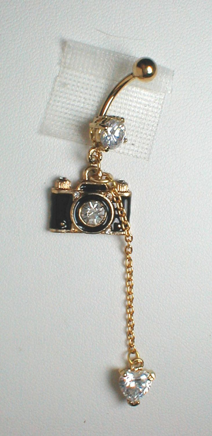 Unique Belly Ring - Trendy Camera with CZ Heart. $12.95, via Etsy.