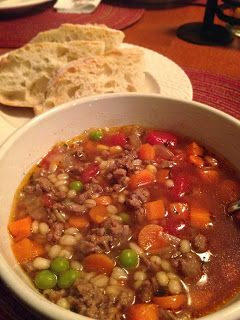 The Cookin' Chicks: Mom's Vegetable Beef Barley Soup This was good but added more barley and used stew meat instead of hamburger:)-smw