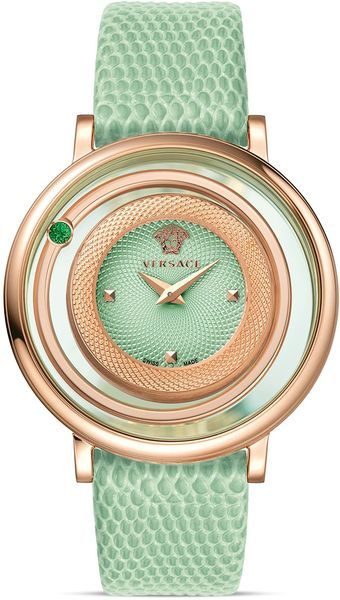 I'm not a brand, expensive watch person, but this is pretty. - Versace Venus Rose Gold Pvd Watch with Light Green Guilloche Dial