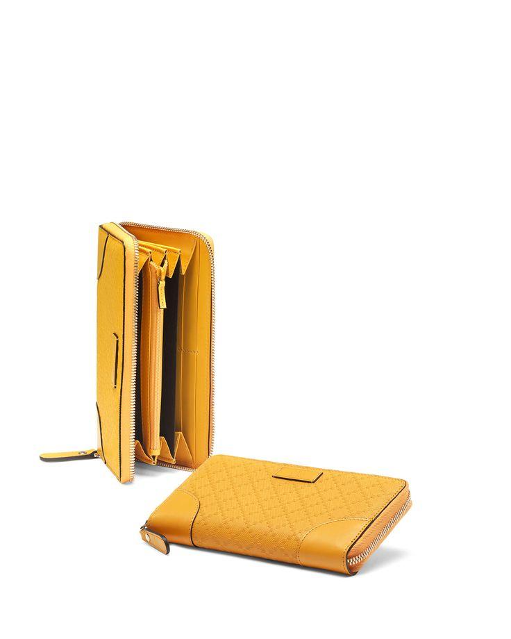 Bright Diamante Leather Zip Around Wallet, Yellow