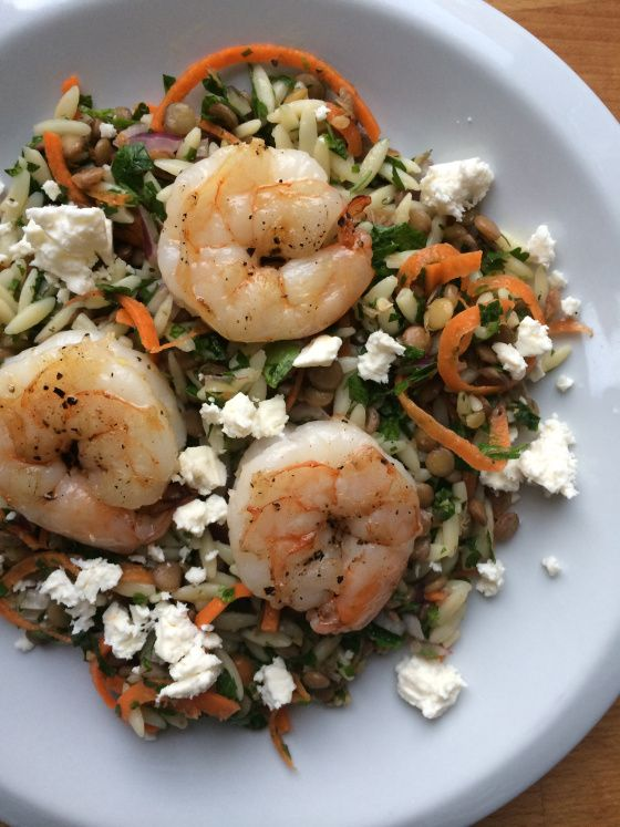 Lentil Orzo Salad with Shrimp and Feta | Seafood | Pinterest