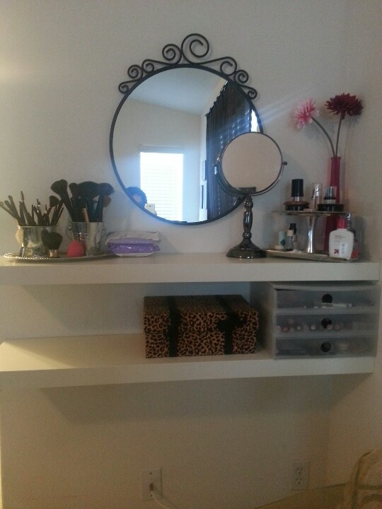 My Vanity Made Out Of Two Ikea Lack Shelfs And Ikea Mirror Thanks Hun Ikea Lack Ikea Mirror Ikea Lack Shelves