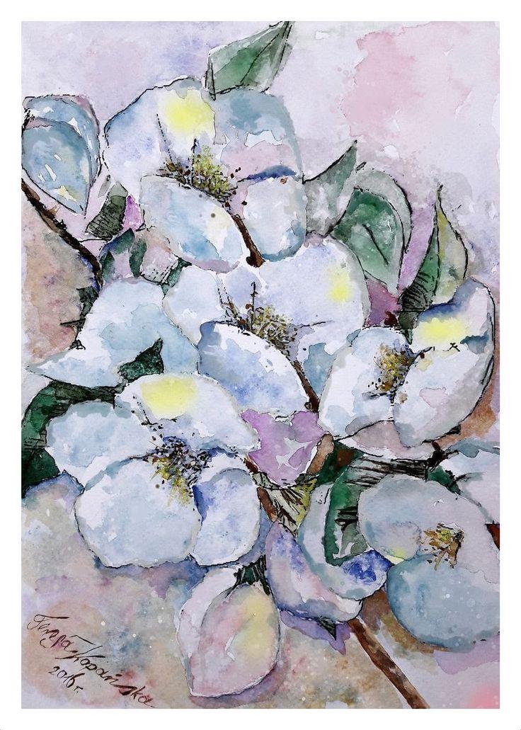 Kwiaty jabłoni (akwarela A-4 2016r.0