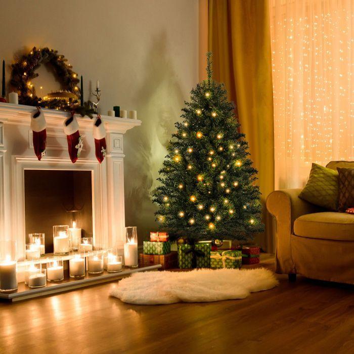61 Off 4 Ft Pre Lit Charlie Pine Artificial Christmas Tree W Plastic Stand Led Lights Christmas Decorations Apartment Christmas Apartment Christmas Room