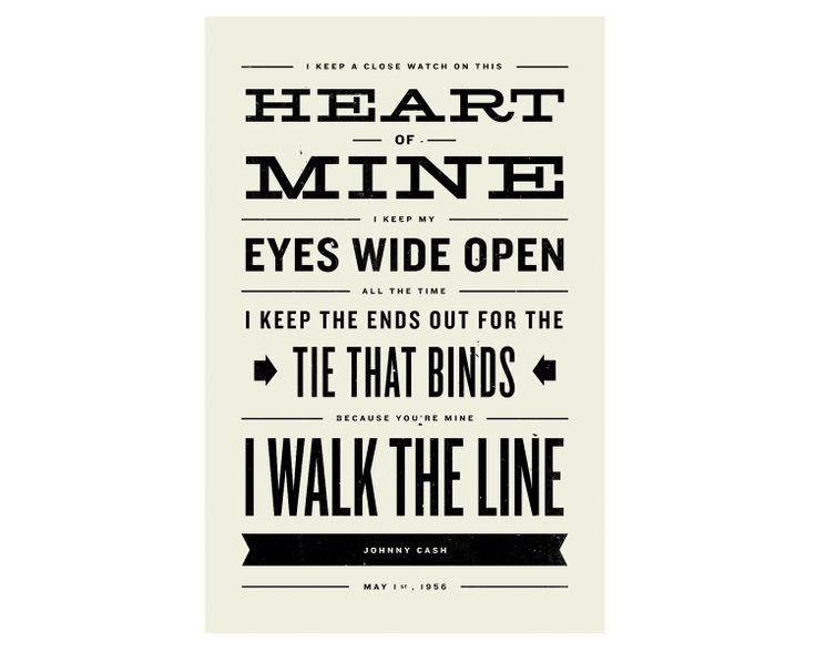 JOHNNY CASH Inspired, Walk The Line Lyric Poster - 11 x17 Typography Art Print, Modern Poster, Retro Home, Vintage, Country Music. $20.00, via Etsy.