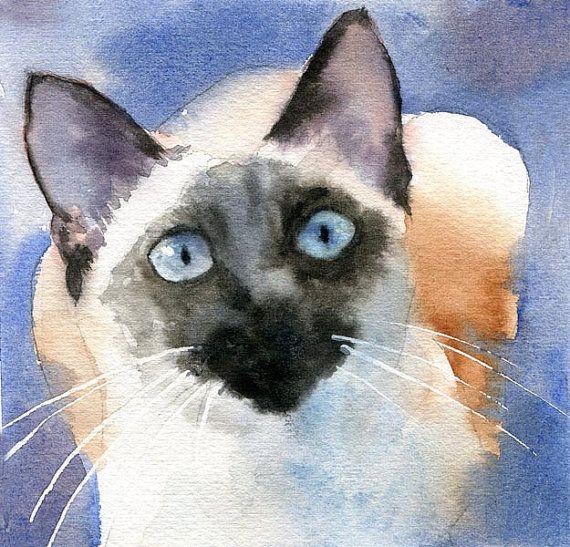 cats+siamese+art | Siamese Cat Art Original Watercolor Painting by rachelsstudio