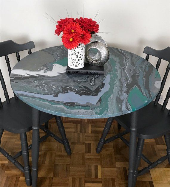 Solid Wood Dark Grey Dining Table And Four Chair Set With Acrylic Paint Pour On The Top Of Table Dark Wood Table Wooden Table And Chairs Grey Dining Tables