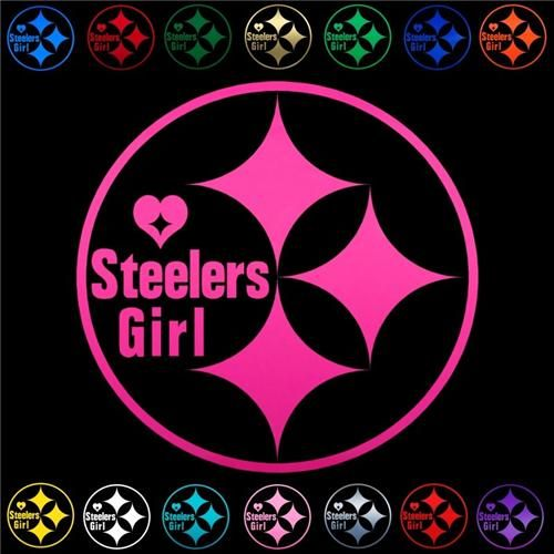 """Pittsburgh Steelers Girl Round HOT PINK Football Decals (8"""") for Cars & Trucks"""