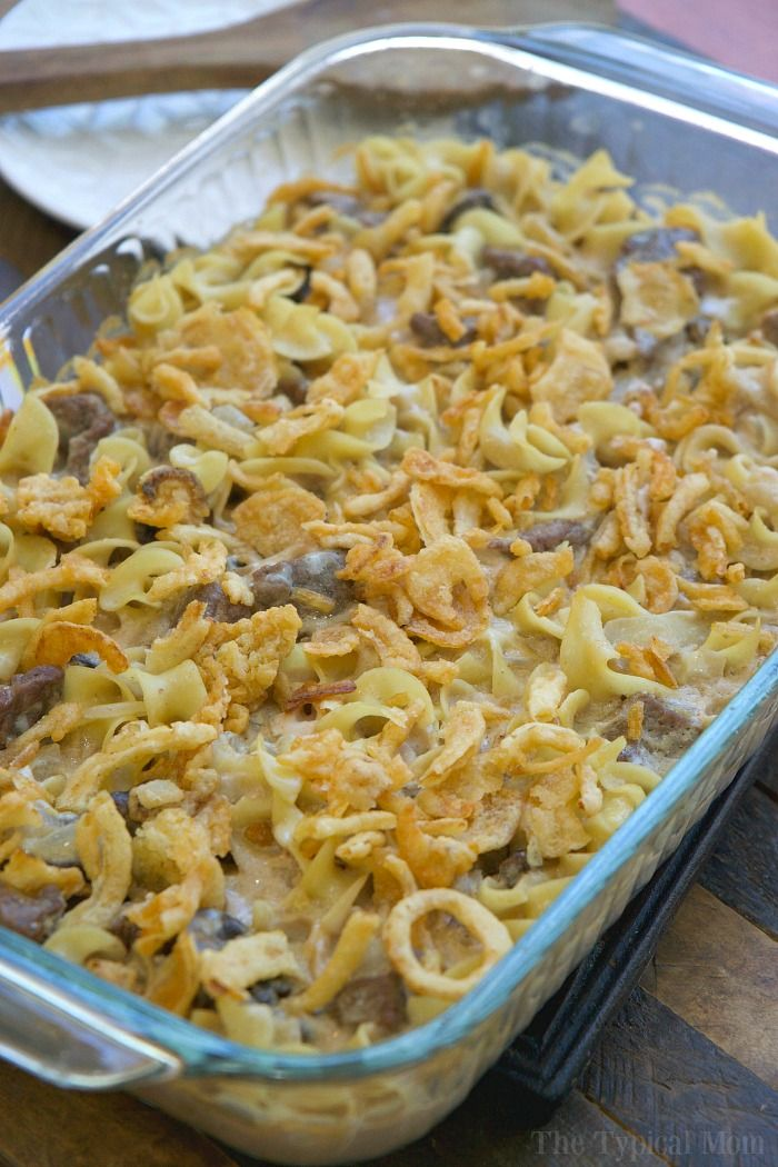This easy beef stroganoff casserole recipe is totally amazing!! Super simple to make, creamy, and total comfort food that even my kids love. Topped with those crispy fried onions you love it's like beef stroganoff on another level. Give it a whirl and let us know what you think!
