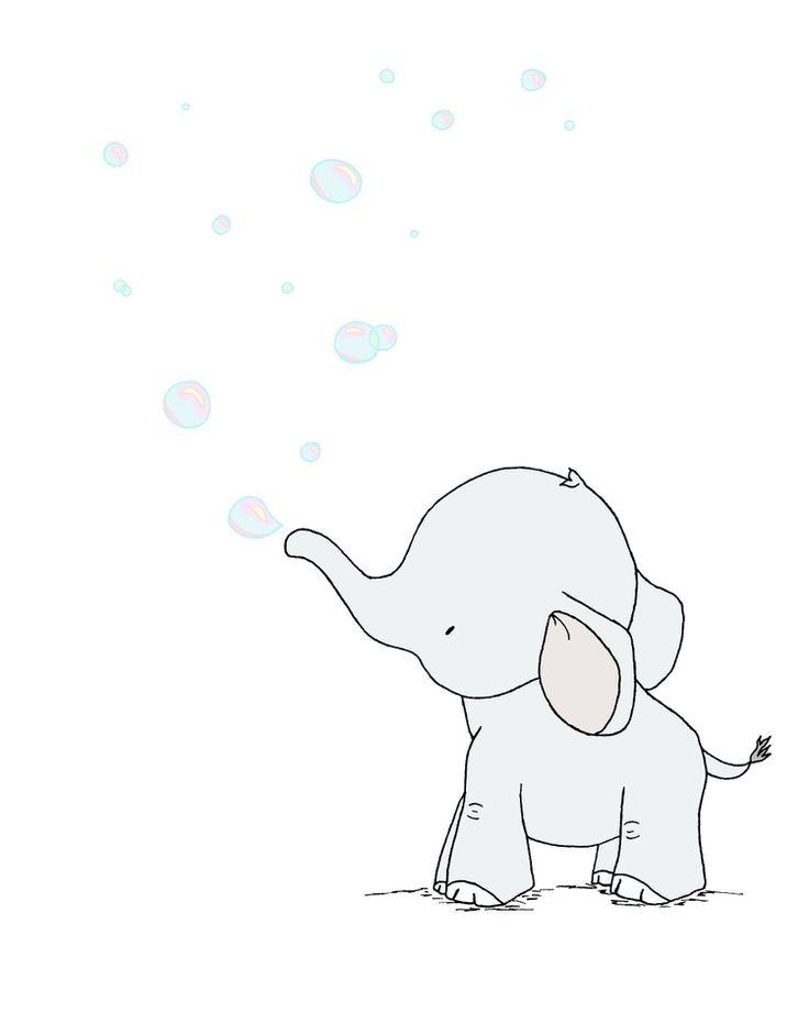 Elephant Nursery Art - Elephant Bubbles - Bubble Nursery Art