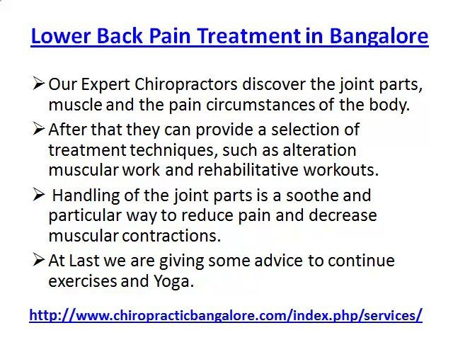 Back Pain in Bangalore, Lower Back Pain Treatment Bangalore by chiropracticbangalore