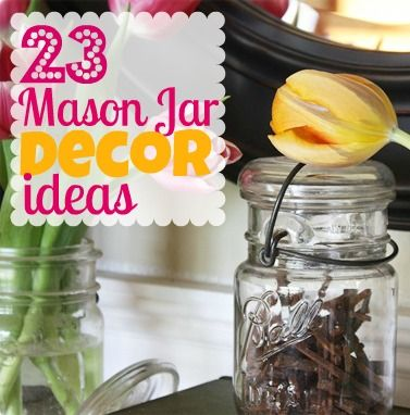 mason jar decor ideas - I'm always looking for ways to organize with these too! Great ideas to use for decorating!!: Jar Crafts, Masons, Decor Ideas, Decorating Ideas, Jars Decor, Mason Jars