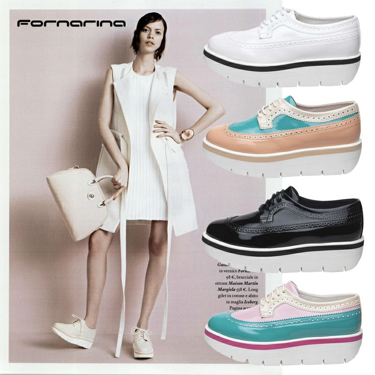As seen on Io Donna Italy new #Fornarina derby flatform in cream color. Which one is your favorite? #myFornarina #Press #flatform #derby #shoes
