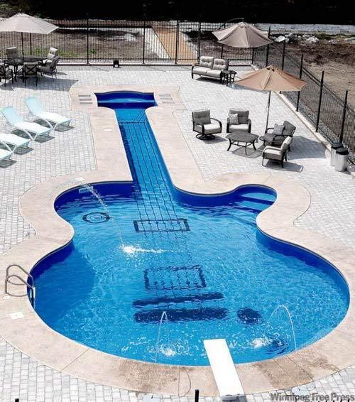guitar pool   ohhhhh yeeaaahhh ;): Les Paul, Swim Pools, Rocks Stars, Lespaul, Guitar, Cool Pools, Dreams Pools, Awesome Pools, Pools Design