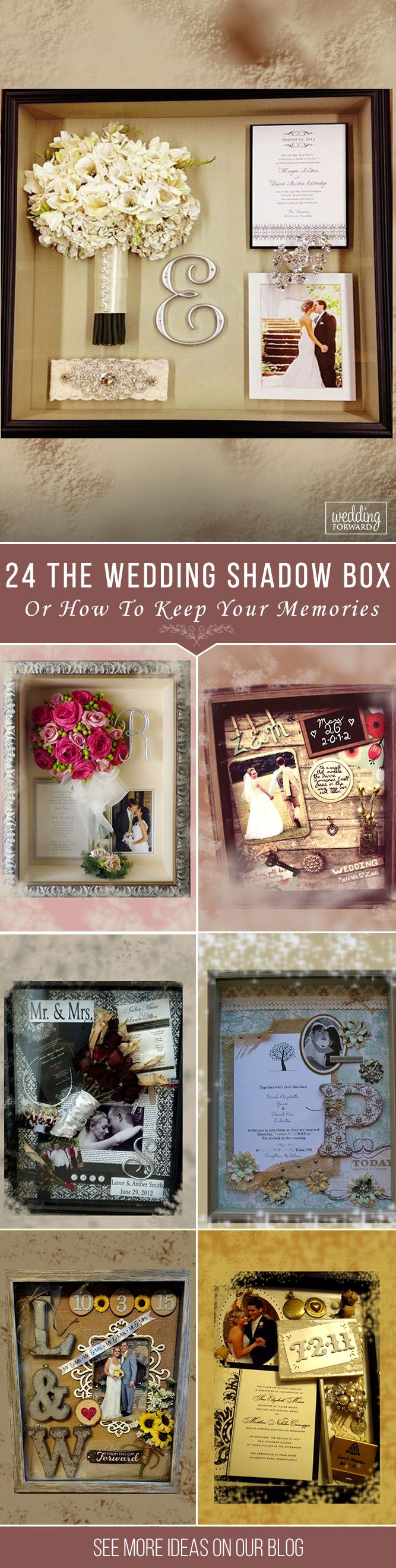 The Wedding Shadow Box Or How To Keep Your Memories ❤ A small box that holds the most wonderful memories of a special day. Many brides make it by yourself and gather in a wedding shadow box bouquet, a dress. See more: http://www.weddingforward.com/wedding-shadow-box/ #wedding #decorations