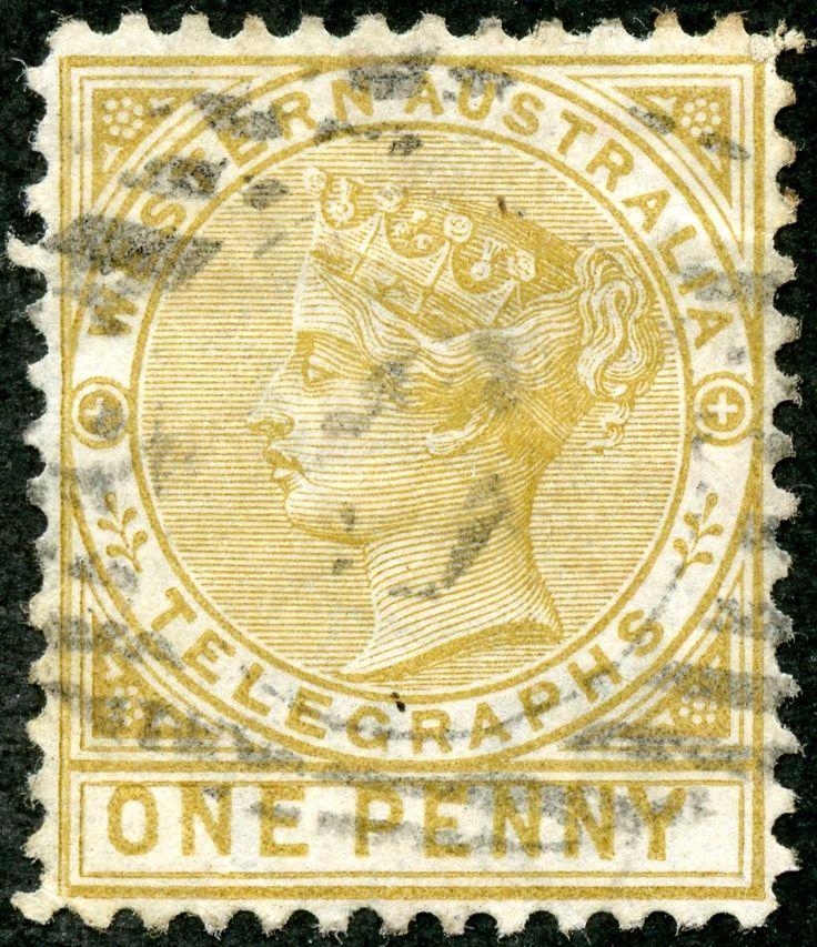 "Western Australia  1886 Scott AR2 1d bister ""Victoria"" Wmk 1; ""Postal-Fiscal"""