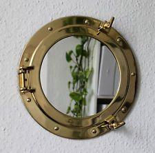 Bullauge Spiegel massiv Messing zum öffnen Ø 29cm Bullaugenspiegel
