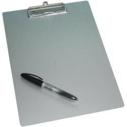 Wedo 057854 Klemmbrett A4 aus Aluminium / Schreibplatte Metall mit abgerundeten Ecken starker Klammer und Aufhängeöse