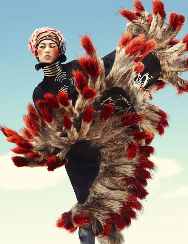Liu Wen in 'Wild Dreams' by Greg Kadel for Vogue Germany, November 2010.