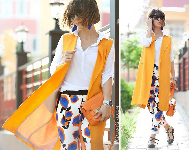 orange linen vest Zara and printed trousers outfit, spring outfit, vest outfit, street style blogger, street style fashion, galant girl,