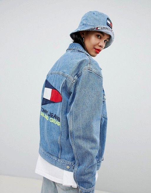 7bca6745 Tommy Jeans 90s Capsule 5.0 Denim Jacket With Back Sailing Logo ...
