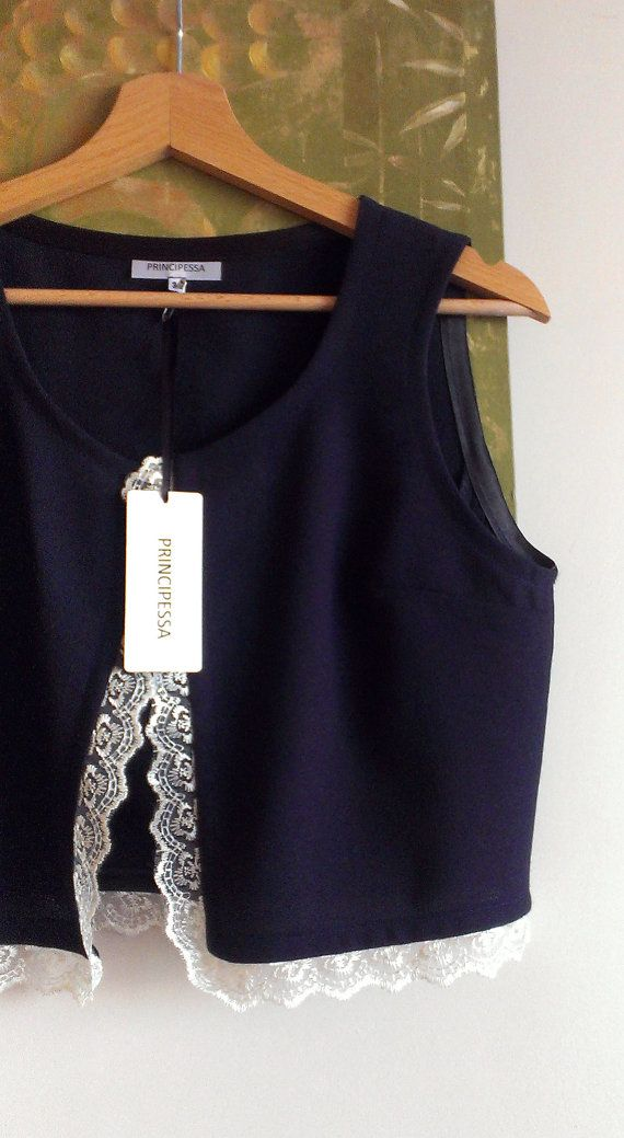 Crop Vest Dark Blue Wool and Lace Vest Womens by PrincipessaLabel, $45.00