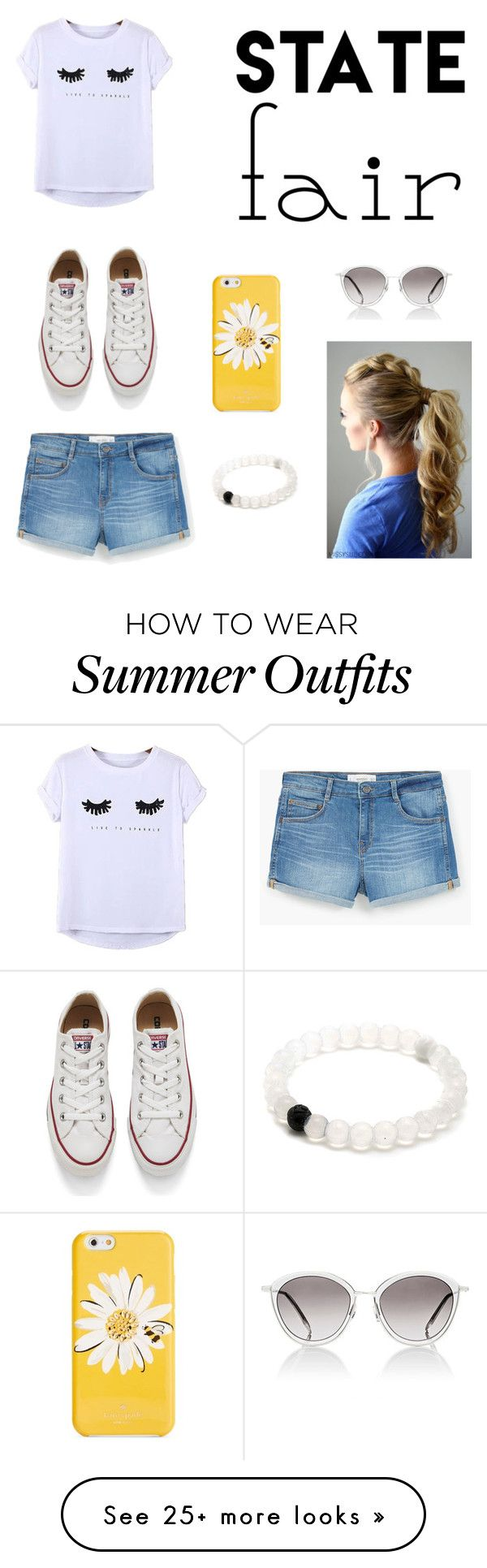 """preppy outfit for a date to the state fair"" by maddylafrenz on Polyvore featuring Chicnova Fashion, MANGO, Converse, Kate Spade, Oliver Peoples, statefair and summerdate"