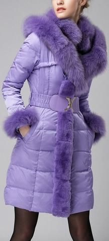 Belted Fox-Fur-Trimmed Puffer Down Coat, Purple