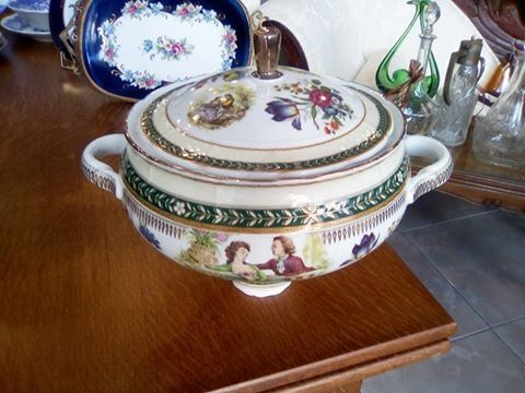 Vintage Limoges Porcelain hand painted soup bowl
