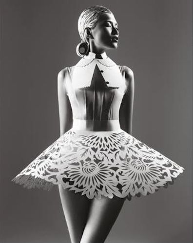Wearable Art - paper dress with intricately cut floral pattern detail - sculptural fashion design; alternative materials // Masha Ma
