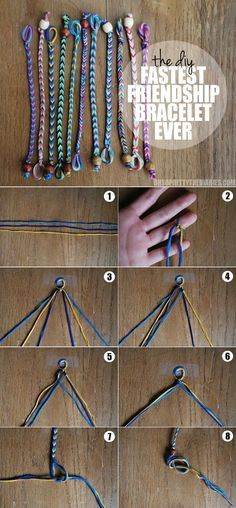 Fishtail friendship bracelet - easy and pretty! You find your rhythm quickly with this one. Definitely only need 2 feet MAX, not 3 like is suggested. .
